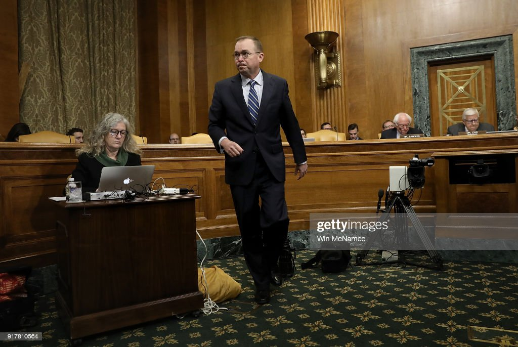 Office of Management and Budget Director Mick Mulvaney arrives for testimony before the Senate Budget Committee February 13, 2018 in Washington, DC. Mulvaney testified on U.S. President Donald Trump's fiscal year 2019 budget proposal that was released yesterday.