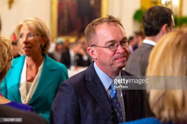 Office of Management and Budget Director Mick Mulvaney attends US President Donald Trumps 'The Pledge To America's Workers' event in the East Room of...