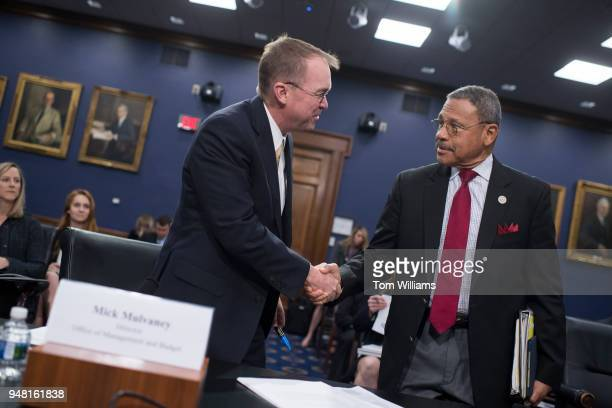 Office of Management and Budget Director Mick Mulvaney left greets Rep Sanford Bishop DGa before a House Appropriations Financial Services and...