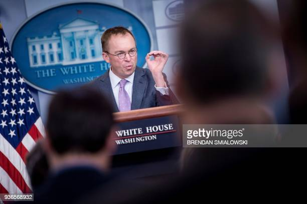 Office of Management and Budget Director Mick Mulvaney speaks about the Consolidated Appropriations Act of 2018 at the White House March 22 2018 in...