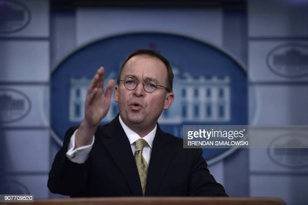 Office of Management and Budget Director Mick Mulvaney speaks during a press briefing in the James S Brady Press Briefing Room of the White House on...