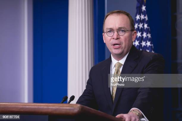 Office of Management and Budget Director Mick Mulvaney speaks to press during a briefing on the government shutdown in the James S Brady Press...