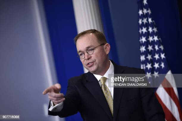 Office of Management and Budget Director Mick Mulvaney takes questions during a press briefing in the James S Brady Press Briefing Room of the White...