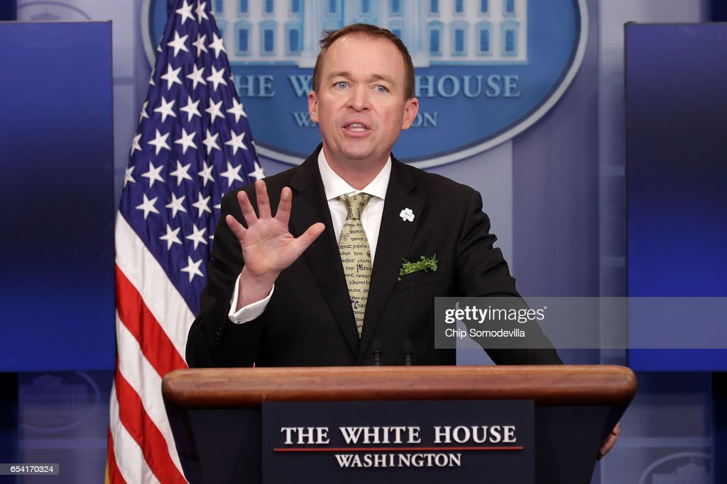 OMB Director Mick Mulvaney And White House Press Secretary Sean Spicer Brief The Media At The White House : News Photo