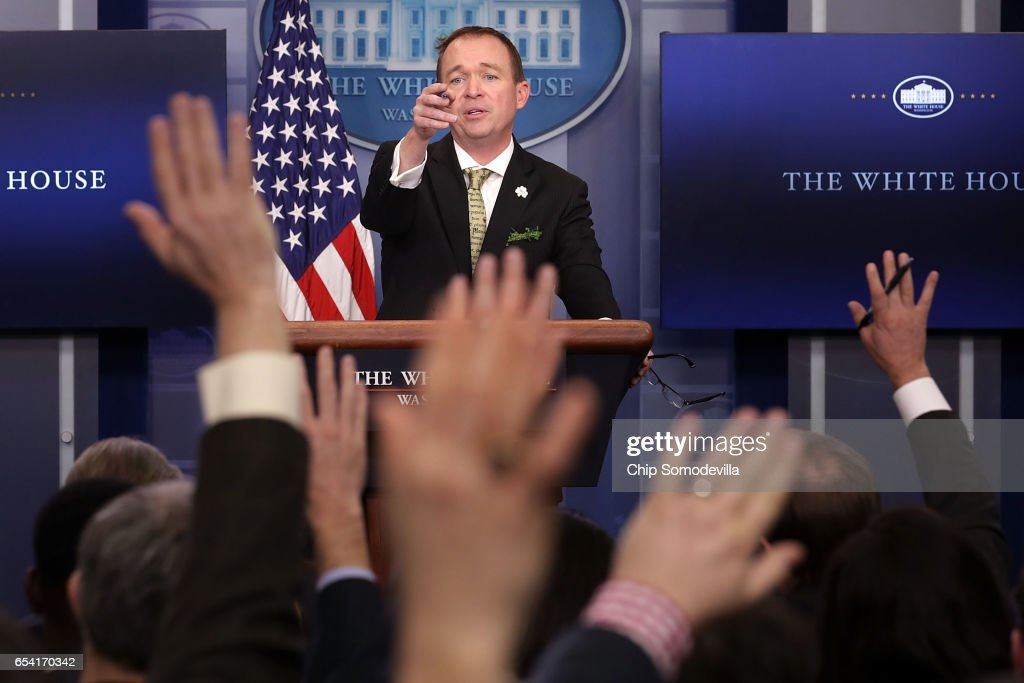 Office of Management and Budget Director Mick Mulvaney takes questions from reporters during a briefing in the Brady Press Briefing Room at the White House March 16, 2017 in Washington, DC. Mulvaney took questions about President Donald Trump's federal budget blueprint which was released Thursday.