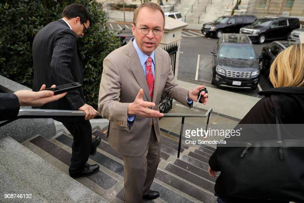 Office of Management and Budget Director Mick Mulvaney talks briefly to reporters about the ongoing partial federal government shutdown outside the...