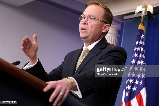 Office of Management and Budget Director Mick Mulvaney talks to reporters during a news conference about the ongoing partial shutdown of the federal...