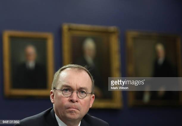 Office of Management and Budget Director Mick Mulvaney testifies during a House Appropriations Committee hearing on Capitol Hill April 18 2018 in...