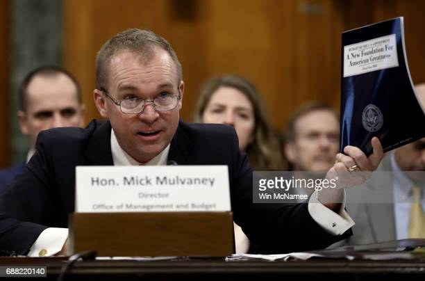 Office of Management and Budget Director Mick Mulvaney testifies before the Senate Budget Committee May 25 2017 in Washington DC Mulvaney testified...