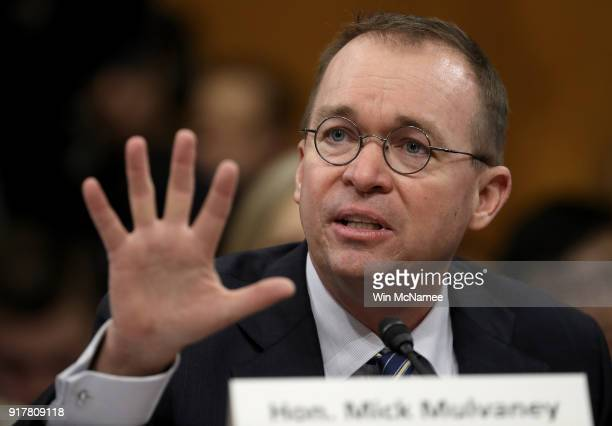 Office of Management and Budget Director Mick Mulvaney testifies before the Senate Budget Committee February 13 2018 in Washington DC Mulvaney...