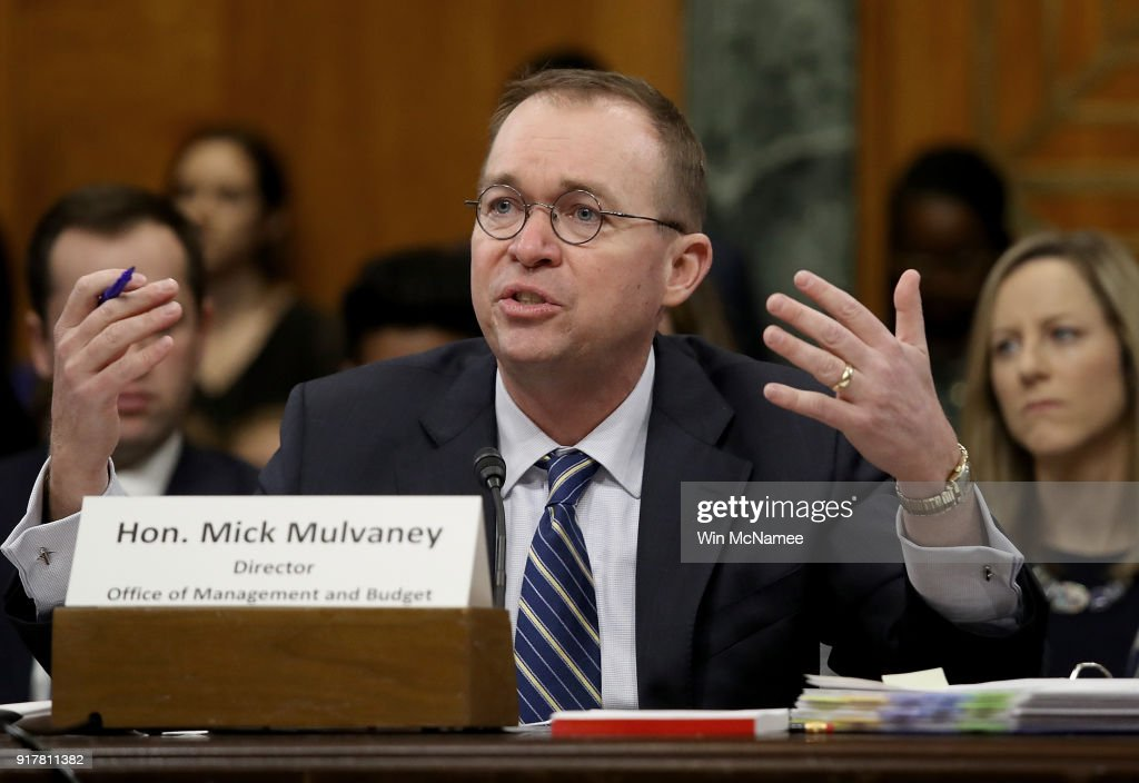 Office of Management and Budget Director Mick Mulvaney testifies before the Senate Budget Committee February 13, 2018 in Washington, DC. Mulvaney testified on U.S. President Donald Trump's fiscal year 2019 budget proposal that was released yesterday.
