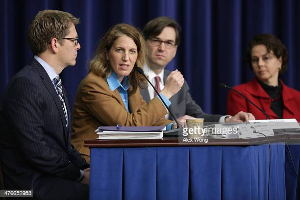 Office of Management and Budget Director Sylvia Burwell speaks as White House Press Secretary Jay Carney Chairman of Council of Economic Advisers...