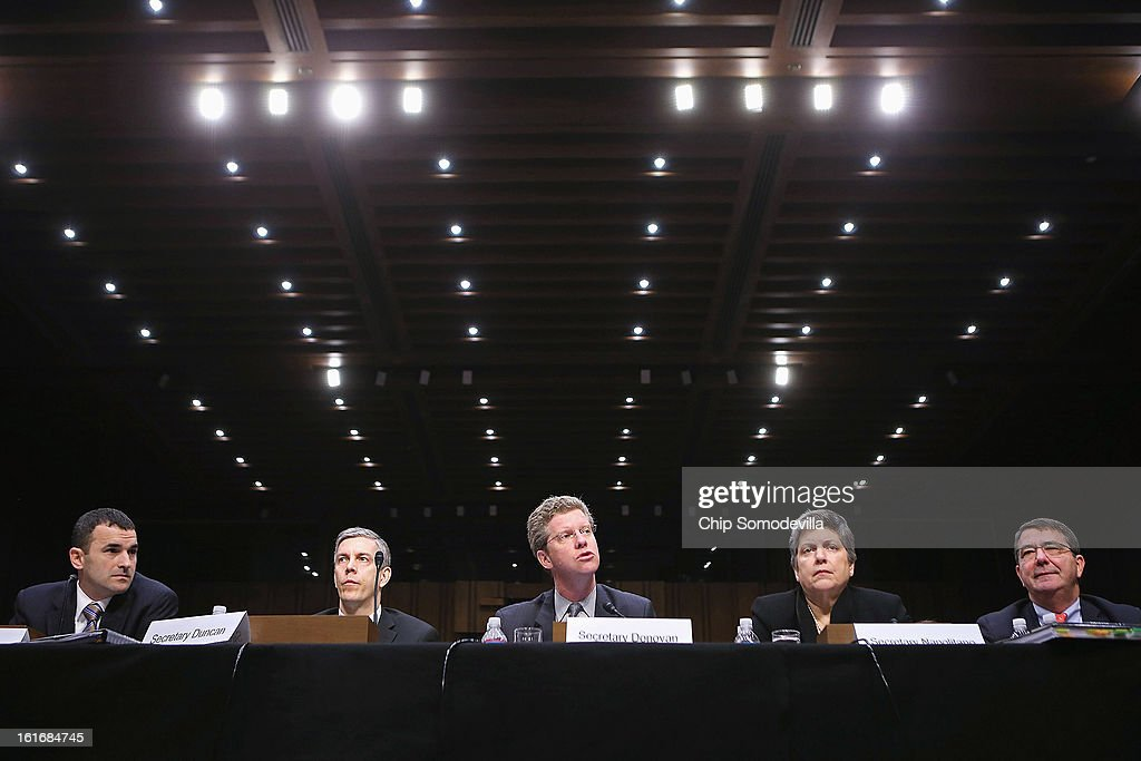 Office of Management and Budget Federal Controller Danny Werfel, Education Secretary Arne Duncan, Housing and Urban Development Secretary Shaun Donovan, Homeland Security Janet Napolitano and Deputy Defense Secretary Ashton Carter testify before the Senate Appropriations Committee about the potential impacts of 'the sequester' during a hearing on Capitol Hill February 14, 2013 in Washington, DC. According to the Obama Administration cabinet members, 'the sequester,' automatic spending cuts to military and nonmilitary programs, will lead to dire bugetary consequences.