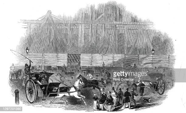 Office of the Board of Trade - scene on Sunday night, 1845. Investors rush to lodge railway applications in Whitehall, London. 'The Legislature...
