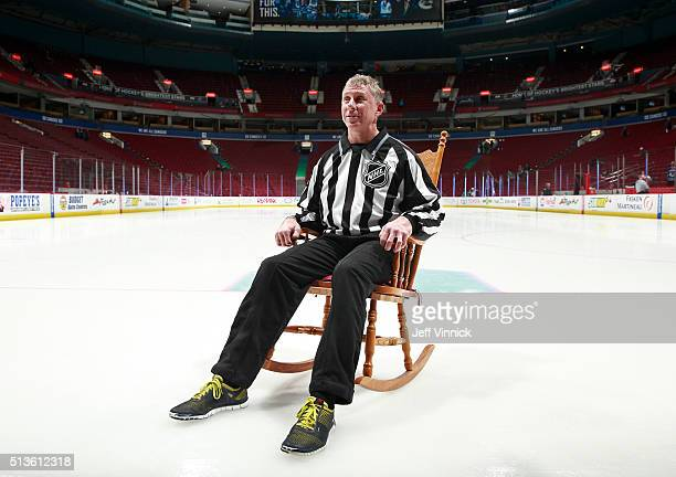 Office officials presented linesman Brad Lazarowich with a rocking chair as a joke before the Vancouver Canucks played the San Jose Sharks in his...