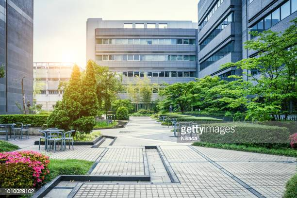 office park in japan - courtyard stock pictures, royalty-free photos & images