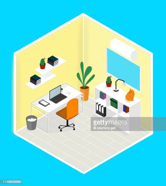 office room - isometric projection stock photos and pictures