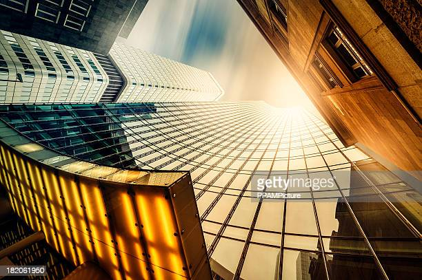 office skysraper in the sun - frankfurt main stock pictures, royalty-free photos & images