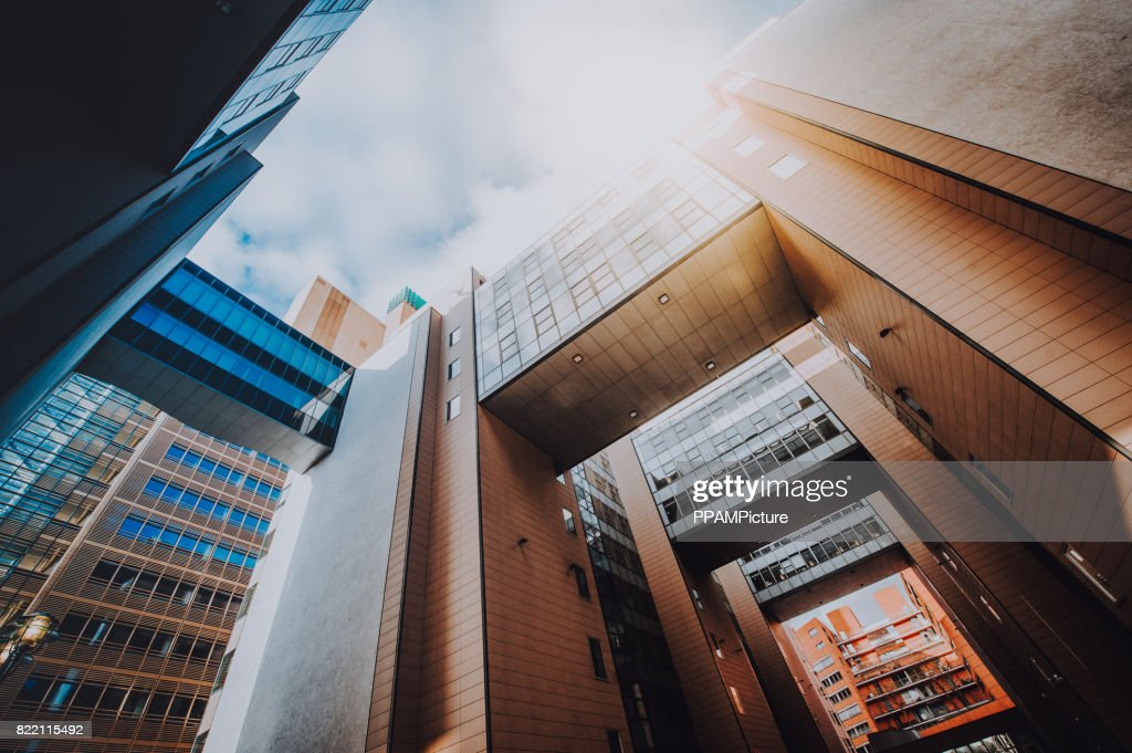 Office skysrapers in the sun : Stock Photo