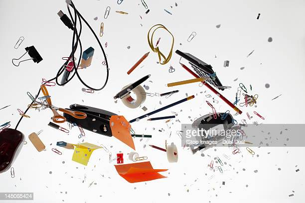 office supplies against a white background - group of objects stock photos and pictures