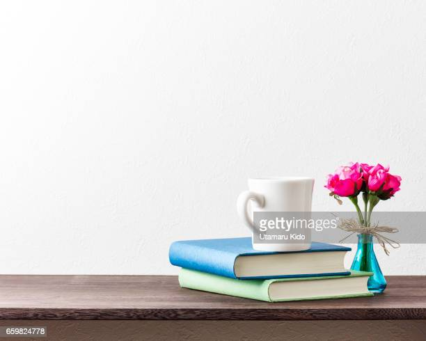 Office supplies and flower.