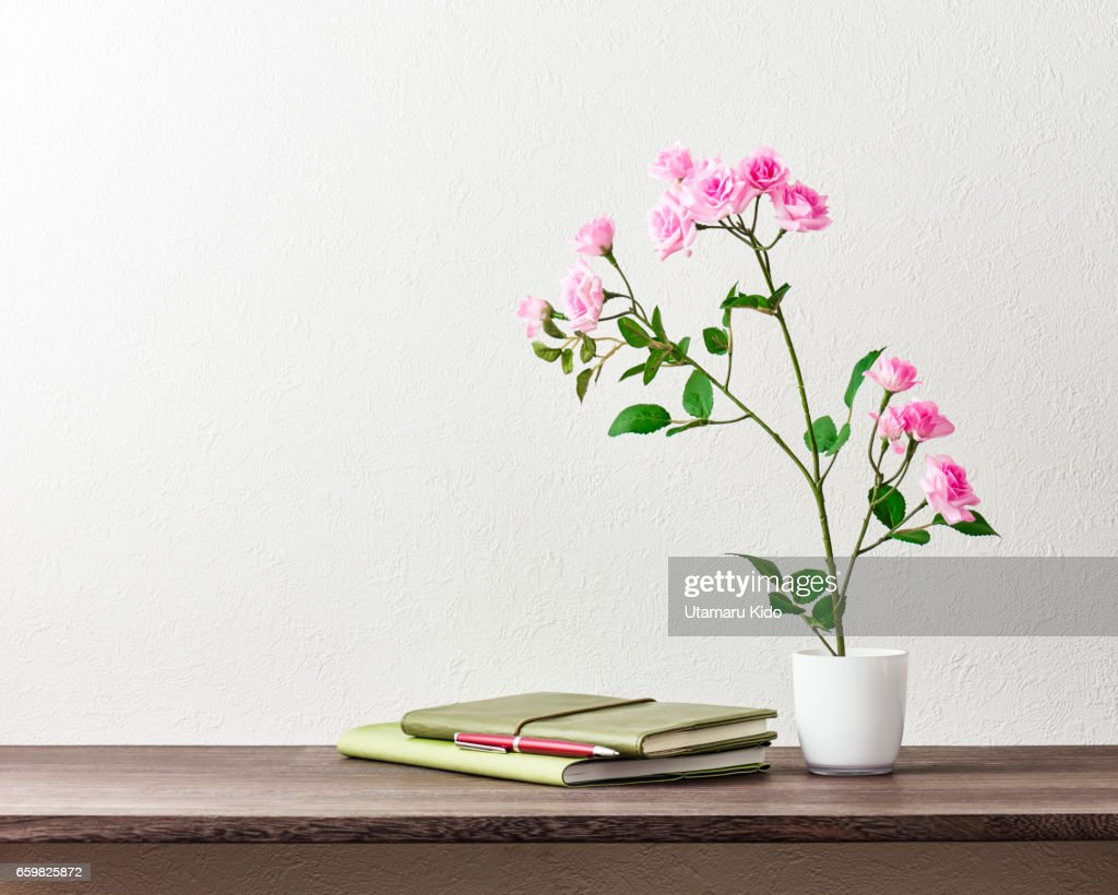 Office supplies and flower. : Stock Photo