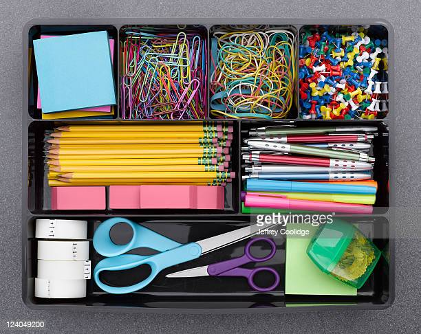 office supplies in tray - stationary stock pictures, royalty-free photos & images