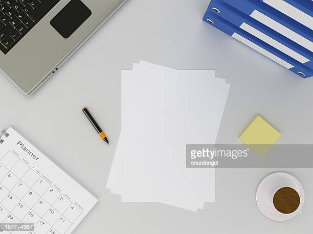 Office Table and Blank Paper