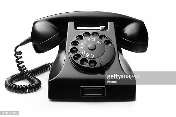Office: Telephone Black Isolated on White Background