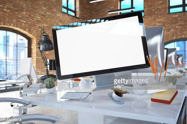 office tools and computer screen. zero gravity concept - homepage stock pictures, royalty-free photos & images