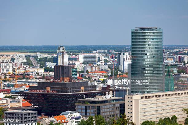nbs office tower and the slovak radio building in bratislava - gwengoat stock pictures, royalty-free photos & images