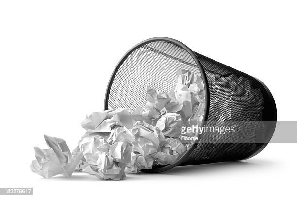 office: wastepaper basket tumbled - garbage bin stock pictures, royalty-free photos & images
