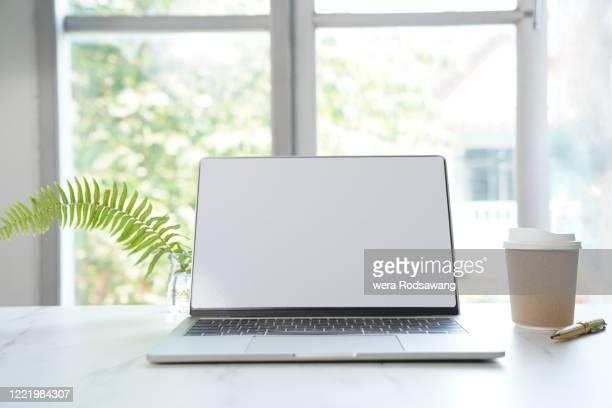 office window desk - front view bildbanksfoton och bilder