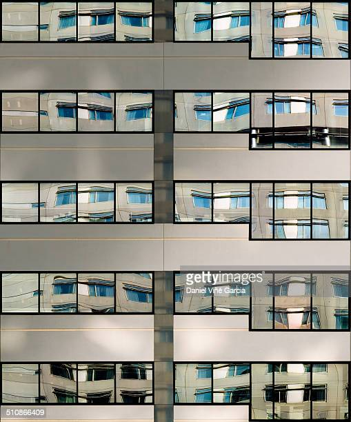Office windows in tall building