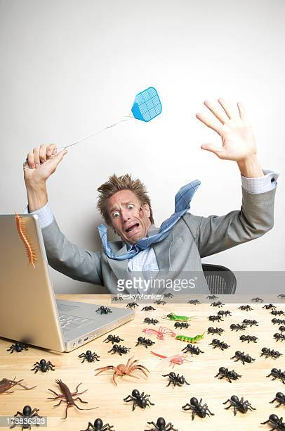 Office Worker Businessman Freaks Out at Computer Bugs