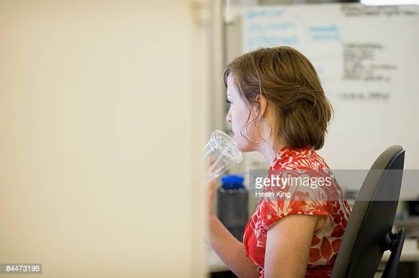 Office Worker Drinking Water