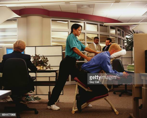 Office Worker Getting Chair Massage