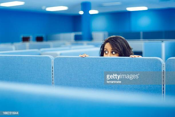 office worker hiding - curiosity stock photos and pictures