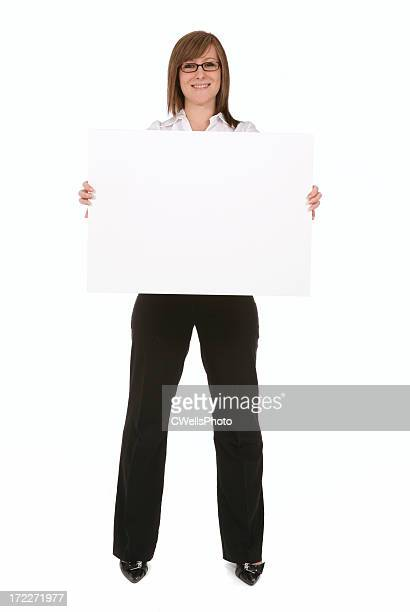 Office worker holding Sign
