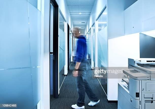 office worker in motion
