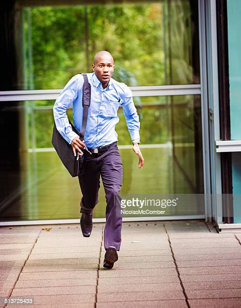 Office worker late for his bus