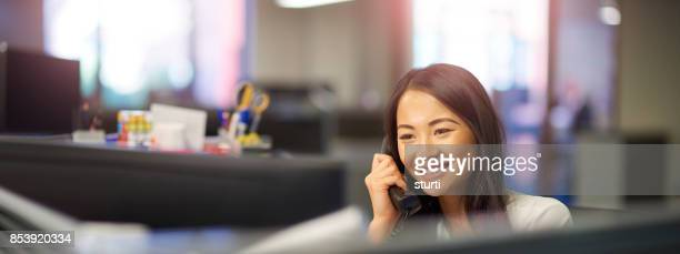 office worker on the phone - secretary stock photos and pictures