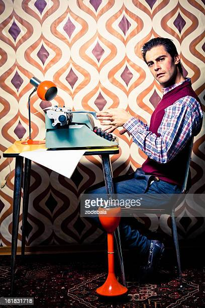 Office Worker Typing in Retro Room