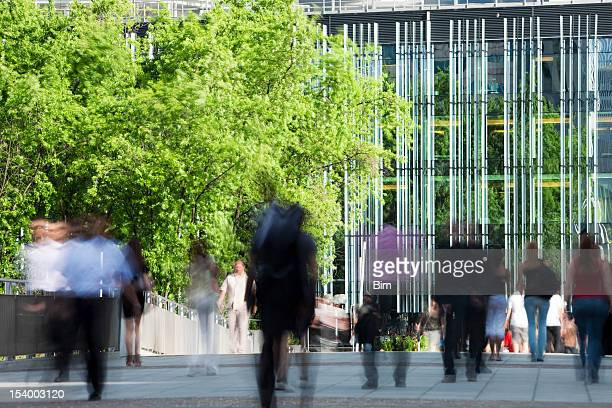 Office Workers Walking in Financial District, Blurred Motion, Paris, France