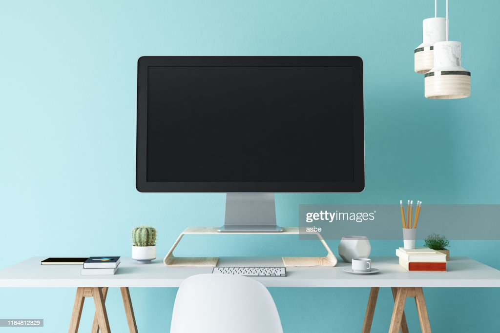 Office Workplace Computer With White Blank Empty Screen High Res Stock Photo Getty Images