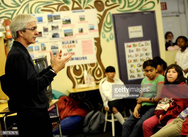 OfficeMax CEO Sam Duncan speaks to students at School On Wheels on January 12, 2010 in Los Angeles, California.
