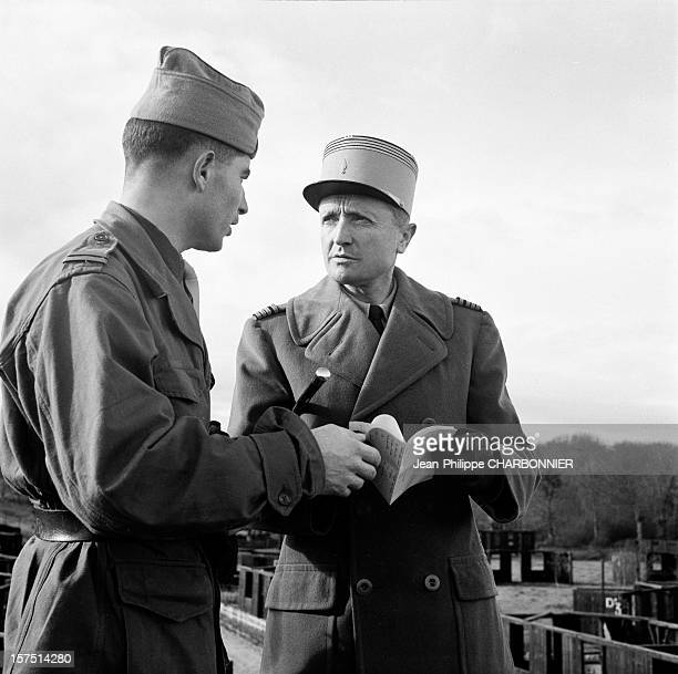 Officer and cadet at French military school of SaintCyr circa 1960 in SaintCyr France
