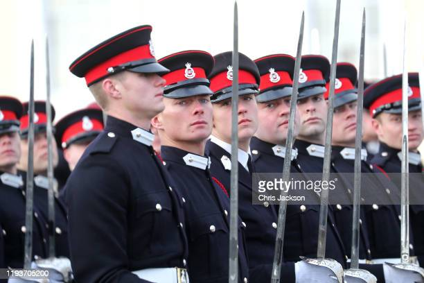 Officer Cadets during The Sovereign's Parade at Royal Military Academy Sandhurst on December 13 2019 in Camberley England