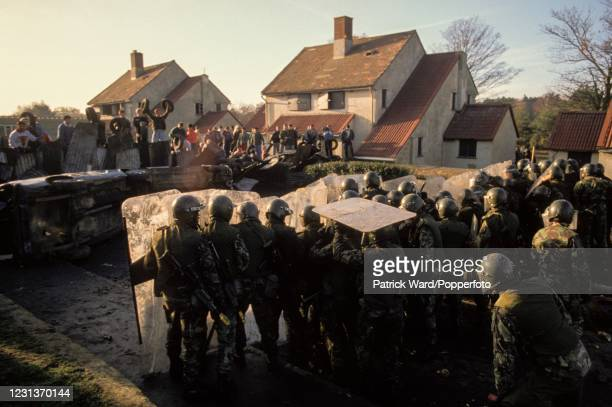 """Officer cadets form a defensive shield during """"Baton Rouge"""", an exercise in dealing with civil unrest and riots, held on a disused barracks site at..."""