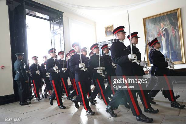 Officer Cadets march inside during The Sovereign's Parade at Royal Military Academy Sandhurst on December 13 2019 in Camberley England